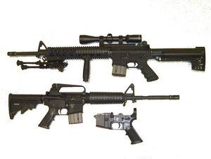 M16: ganz unten das Teil, das gedruckt wurde. Bild: Wikipedia, gemeinfrei
