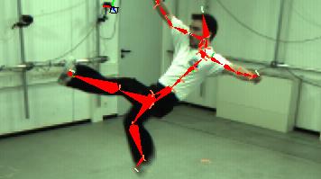 Schauspieler werden in ihrer normalen Kleidung von gewöhnlichen Kameras gefilmt. Im Computer werden die Bewegungen von einer speziellen Software analysiert und als Bewegungsskelett auf eine virtuelle Figur übertragen. Quelle: MPI für Informatik (idw)