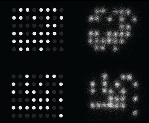 Das gewünschte Muster (links) und wie die DNA unter dem Mikroskop aussah (rechts). Bild: Nucleic Acid Memory Institute an der Boise State University / UM / Eigenes Werk