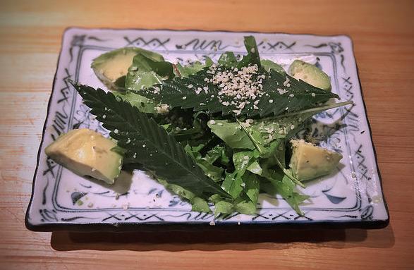 Salat mit Avocado, Hanfblättern und geschälten Hanfsamen.