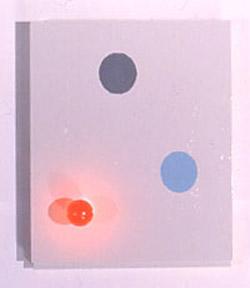 Bild 2: David Clarkson, Afterimage Painting, 1996, Glühbirne, Emaille auf Holz, 24 x 18 x 2 inches