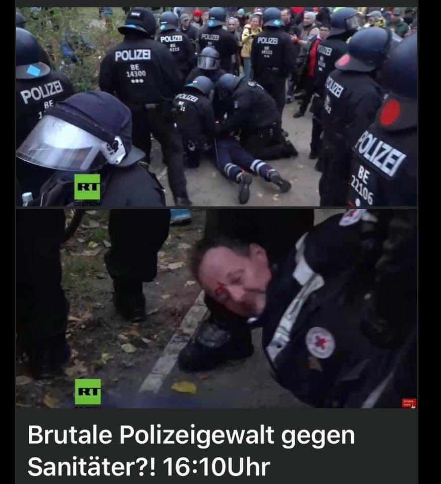 Sanitäter werden von der Berliner Polizei am 18.11.2020 verhaftet und daran gehindert Verletzten zu helfen.