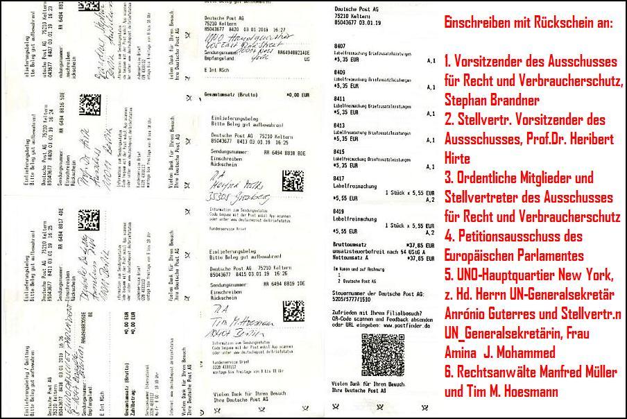Per Einschreiben mit Rückschein auf dem Postweg nach Berlin. Brüssel, New York und Grünberg. Aufruf zum Schutz für Whistleblower und Berichterstattende über Kindesmissbrauch.