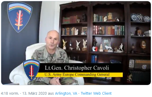 MARCH 12, 2020. WIESBADEN, HE, GERMANY Commanding General of U.S. Army Europe Lt. Gen. Christopher Cavoli discusses new information regarding COVID-19 in Europe.