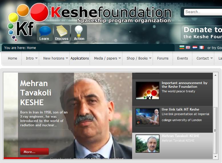 Screenshot von der Webseite http://keshefoundation.org
