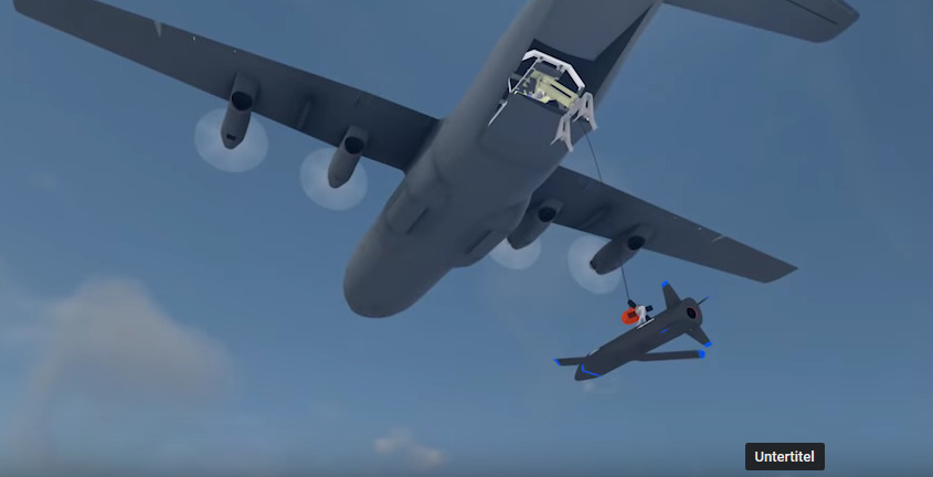 """Bild: Screenshot Youtube Video """"Gremlins: Airborne Launch & Recovery of Unmanned Aerial Systems"""""""