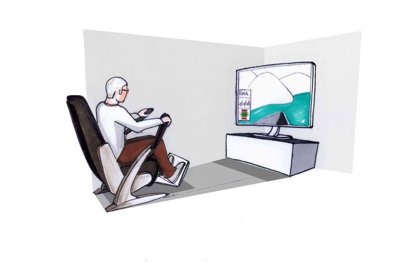 Auf Knopfdruck in der Ruderregatta: Der GEWOS-Sessel hält Senioren auch in den eigenen vier Wänden fit. Quelle: © Fraunhofer IIS (idw)