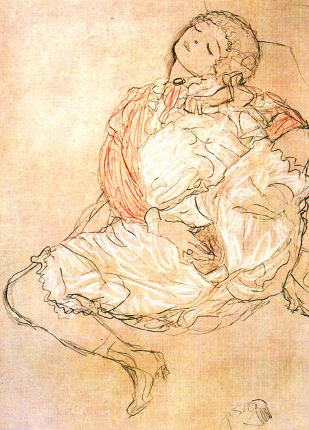 Masturbation (Zeichnung von Gustav Klimt, 1913)