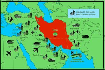 US-Militärbasen und Truppen um den Iran herum. Iran = Land der Arier. Neben Nordkorea eines der letzten Länder ohne eine Rothschild-Zentralbank.