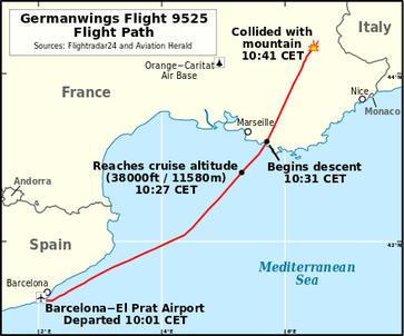 Flugroute von Germanwings Flug 9525 (IATA-Code 4U9525, ICAO-Code GWI18G)