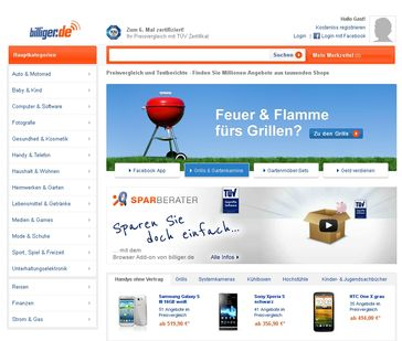 "Screenshot ""www.billiger.de"""