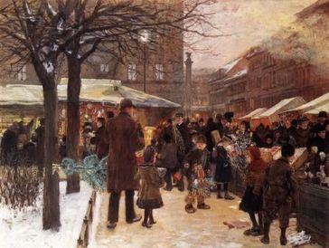 Franz Skarbina: Weihnachtsmarkt in Berlin, 1892 (Symbolbild)