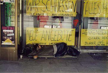 Obdachloser in der Hamburger Innenstadt
