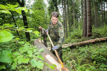Bundeswehr-Einsatz im sächsischen Landeswald Bild: Bundeswehr