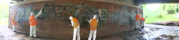 Einsatz des Anti-Graffiti-Mobils Bild: Polizei