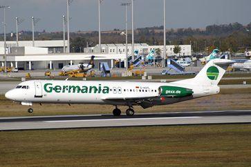 Eine frühere Fokker 100 der Germania