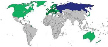 Karte mit Ländern, die 2014 Sanktionen gegen russische und/oder ukrainische Individuen oder Unternehmen verhängt haben:EUandere LänderRussland