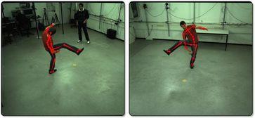 Wissenschaftler des Max-Planck-Instituts für Informatik in Saarbrücken können die Bewegungen eines Schauspielers in Echtzeit erfassen. Quelle: Foto: MPI (idw)