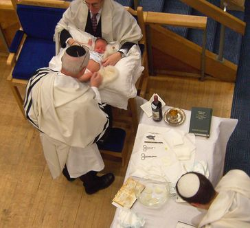 Durchführung einer Brit Mila. Die Beschneidung ist im Judentum weit verbreitet.