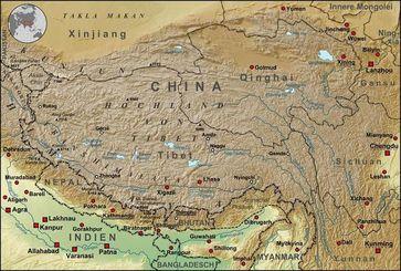 Topograhische Karte der chinesischen autonomen Provinz Tibet, sowie der umliegenden chinesischen Provinzen und der angrenzenden Länder. Bild: Lencer / de.wikipedia.org