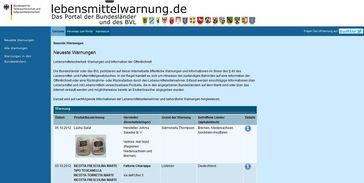 "Screenshot von ""lebensmittelwarnungen.de"""