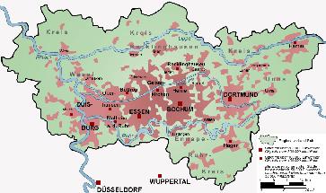 Karte der Siedlungsstruktur des Ruhrgebiets
