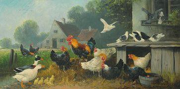 Hühnerhof mit Enten, Tauben, Küken, Hühnern und Hahn auf einem Gemälde von Otto Scheuerer (1862–1934), Symbolbild