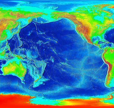 Höhenkarte des Pazifischen Ozeans