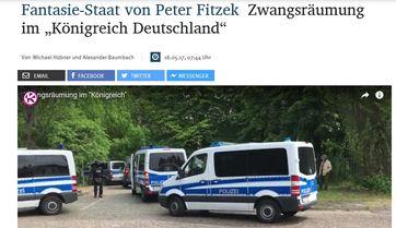 Ca. 150 bewaffnete und Vermumte stürmen mit schwerem Gerät das Staatsgelände des Königreich Deutschland (KRD)  Bild: Screenshot MZ Bericht vom 15.05.17