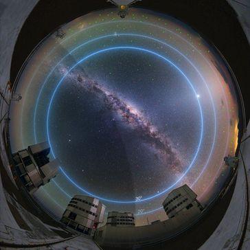 Bereiche des Himmels, die am stärksten von Satellitenkonstellationen betroffen sind Quelle: Bild: ESO/Y. Beletsky/L. Calçada (idw)