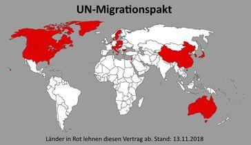 Übersicht: Diese Staaten lehnen den UN-Migrationspakt ab - Länder in Rot lehnen den Vertrag ab (Stand 13.11.2018)
