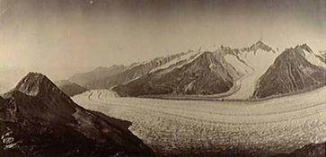 Historisches Foto des Aletschgletschers.Adolphe Braun, ca. 1880