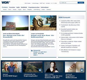 """Screenshot von der Webseite: """"wdr.de"""""""