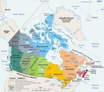Politische Karte des Königreich Kanada