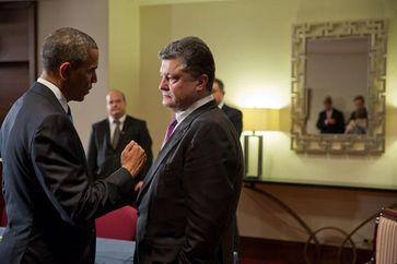 U.S. Präsident Barack Obama trifft Pjotr Poroschenko, im Juni 2014