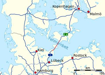 Lage der geplanten Fehmarnbelt-Querung