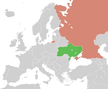Lage der Ukraine und Lage Russlands mit der russischen Krim