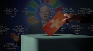 Bild Schwab (2008): Schwab: World Economic Forum, Wikimedia Commons, CC BY-SA 2.0; Symbolbilder Urne & Flagge: Freepik; Bildkomposition: Wochenblick / Eigenes Werk