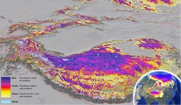 Auftauende Permafrostböden dürften in Zentralasien, Tibet, dem Himalaya und Karakorum die Menschen vor schwer wiegende Konsequenzen stellen, wie die neue Permafrostkarte zeigt. Quelle: Foto: UZH (idw)