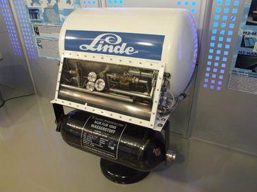 Tank von Linde für Flüssigwasserstoff, Museum Autovision, Altlußheim