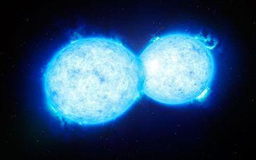 Künstlerische Darstellung des heißesten und massereichsten sich berührenden Doppelsterns VFTS 352