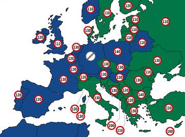 Zulässige Höchstgeschwindigkeiten auf Autobahnen in Europa. Deutschland bleibt weiter frei.