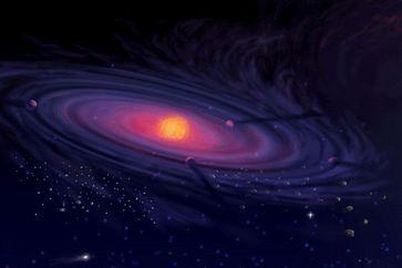 Künstlerische Darstellung einer protoplanetaren Scheibe Quelle: Pat Rawlings / NASA (idw)