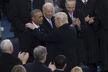 Trump during his inauguration in 2017. From left, Barack Obama, Joe Biden, Chuck Schumer.