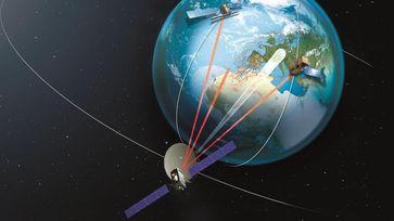 """""""Super-Laser"""" revolutioniert Übertragung im All: Alphasat und Sentinel 1A tauschen Daten per LCT aus. Quelle: Bild: DLR (idw)"""