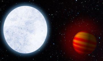 Künstlerische Darstellung des heißen Sterns KELT-9 und seines Planeten KELT-9b, einem heißen Jupiter. Quelle: Bild: MPIA (idw)