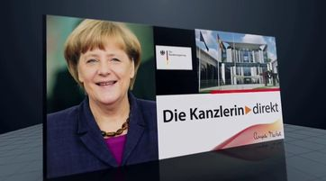 Screenshot des Youtube Video Kanal der Bundesregierung - Intro Podcast der Bundeskanzlerin Merkel.