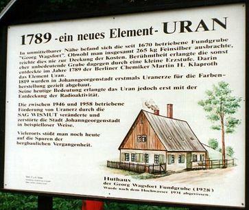 Fundort der Erzstufe von 1789 aus Pechblende bei Johanngeorgenstadt