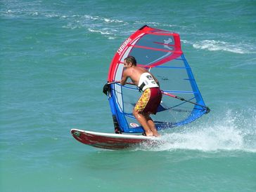 Windsurfing is a typical surface water sport.