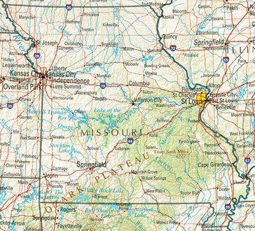 Geographische Karte Missouris
